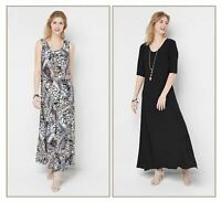 ATTITUDES BY RENEE NEW $66 Set of 2 Printed & Solid Maxi Dress Medium