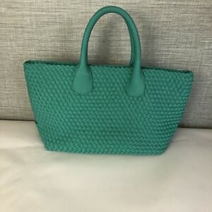 Naghedi  Womens Woven Tote Handbag Turquoise
