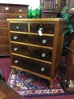 Antique Cherry Maple and Mahogany Chest Mid 19th Century - Delivery Available