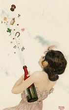 Postcard: Art Nouveau repro- New Year, Good Luck Girl - 4 Leaf Clover, Champagne