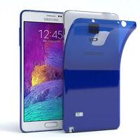 Ultra Slim Cover für Galaxy Note 4 Case Silikon Hülle Transparent Blau