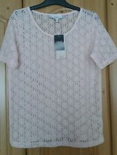 Next ladies short sleeved  pink floral lace top blouse size 8