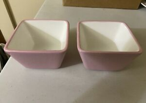 Pampered Chef Help Whip Cancer Two Pink Small Square Bowls