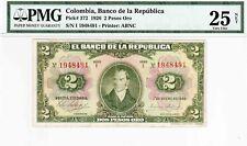 COLOMBIA  BANKNOTES $2 1926  RADAR PMG CERTIFIED 25 NET VERY FINE