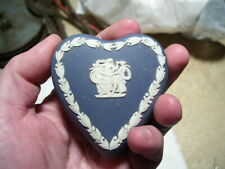 Antique Wedgwood England Pottery Dark Blue Heart Covered Dish