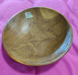 Hand Carved Wooden Bowl Decorative Piece Made In Kenya 8 Inches Across