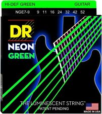 DR Handmade NGE7-9 Neon GREEN Electric Guitar Strings 9-52 lite 7-String set