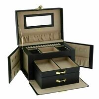 Superior Large Black Bonded Leather Jewellery Box by Aevitas