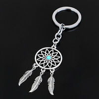 New Silver Metal Key Chain Ring Feather Tassels Dream Catcher Keyring Keychain