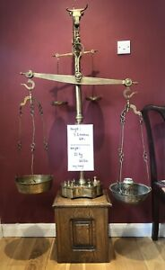 Massive 4ft / 1.2 metres Antique Brass Butchers Scales. Very Heavy 21 Kg / 46 Lb