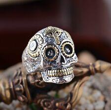 925 Sterling Silver men's Biker skull CROSS ring Rings jewelry P112   US size 13