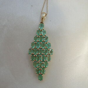 3.75ct Genuine Natural Colombian Emerald Gold Pendant