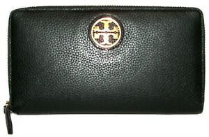TORY BURCH  Taylor Black Leather Zip-Around Clutch  Wallet NWT