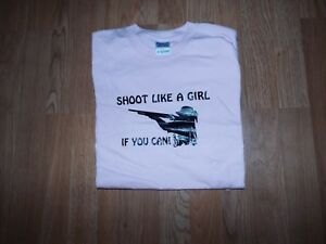 Shoot Like A Girl If You Can Funny T Shirt Pink X LARGE SHOTGUN SKEET TRAP