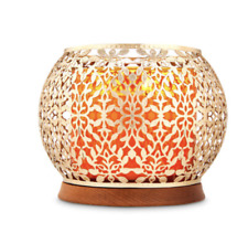 BATH & BODY WORKS GOLD VINES WITH WOODEN BASE 3-WICK CANDLE HOLDER NEW!