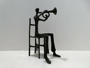 Vintage Bronze Trumpet Player Sculpture FIGURINE Art - Netherlands
