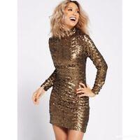 BNWT MYLEENE KLASS GOLD FULLY SEQUINNED HIGH NECK DRESS SIZE  UK 10 RRP £110