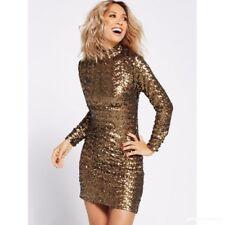 BNWT MYLEENE KLASS GOLD FULLY SEQUINNED HIGH NECK DRESS SIZE  UK 12 RRP £110