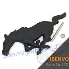 Big Matt Black Running Horse Grille Metal Emblem Badge W/ Mount for Ford Mustang
