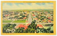 Lompoc California Postcard CA Overlooking Town Aerial Bird's Eye View Linen