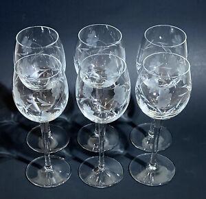 """Set of 6 - Vtg Toscany - Pattern: TOY24 - WINE GLASSES - Floral Vine - 8oz -  7"""""""