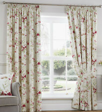 Floral Ready Made Pencil Pleat Lined Curtains Including Tie Backs Jeanie Red