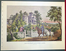 American Country Life May Morning Mansion 1952 Color Lithograph Currier Ives