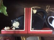 Whimsical Wooden / Wood Black & White Cat & Mouse Bookends, Made in Indonesia