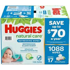 Huggies Unscented Natural Care Sensitive Baby Wipes, 1088 ct