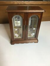 WOOD JEWELRY DISPLAY CABINET with MIRROR STAINED GLASS FLOWERS
