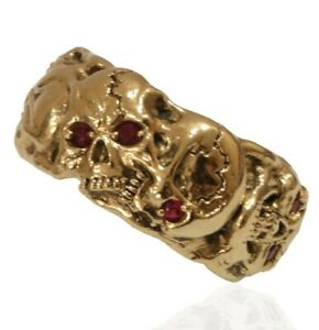 Masonic Skull Band Mens Solid Gold Ring Memento Mori Ruby Color Stones US Sizes