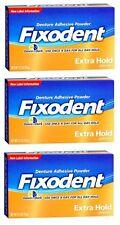 Paquete De 3-Adhesivo Polvo Extra Hold Fixodent prótesis dental 2.70oz cada uno