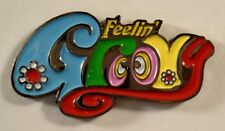 Retro Mod 1970s Saying FEELIN' GROOVY Hippie LAPEL PIN