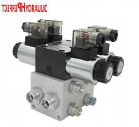 Hydraulikventil Steuerventil 2 Sektion CETOP 03 NG6 60l/min 12V mit Grundplatte