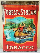 FOREST & STREAM TOBACCO MEN FISHING WITH DOG IN CANOE HEAVY DUTY METAL ADV SIGN