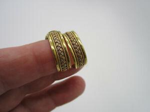 Vintage Estate Rare 14k Yellow Rose Gold 7.2 Gram Weave Hoop Pierced Earrings