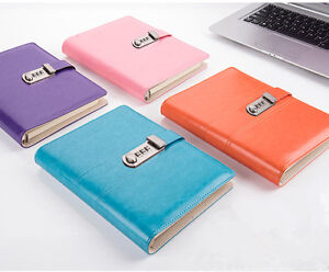 Password Lock Private Notepads Loose Sheet Fashion Leather Color Notebook A5