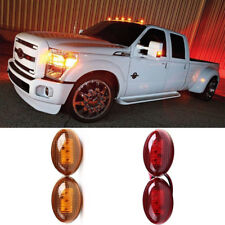 Ford F350 F-Series 4pc LED Fender Bed Side Marker Lights Clear Lens (Amber Red)