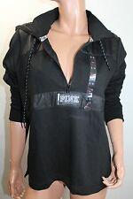 Pink By Victoria's Secret Graphic Hoodie Anorak Lined XSmall NWT Black