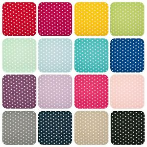 100% Cotton Fabric 10mm WHITE STAR ON VIBRANT COLOUR Material 145cm Wide