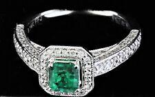 14K White Gold Colombian Emerald & Diamond Ring