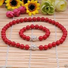 8MM GENUINE CORAL RED SOUTH SEA SHELL PEARL NECKLACE BRACELET JEWELRY SET 18''