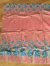 "Vintage Cotton Fabric1930's Floral Border Print Pinks & Blues 1 Yd. L 36"" W Mint"