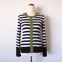 THINK DESIGN Aust Black White Stripe Green Zip Long Sleeve Top Blouse Size 8