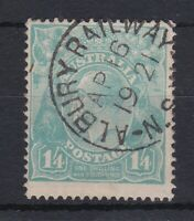 G666) Australia KGV 1920 1/4d Turquoise single wmk. Cancelled by near full strik