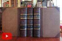 George Washington Life History c.1860 Virtue 3 vol. leather set w/ 80 plates