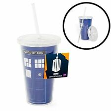 Doctor Who TARDIS Lidded Tumbler with Straw officially licensed DR