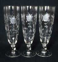 """Very Large Art Deco Glass Engraved Glasses x3 c1930s 9.25"""" Tall"""