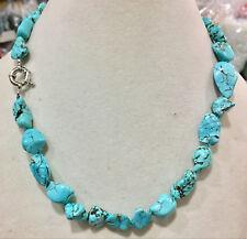 "Natural stone turquoise 10-14mm irregular bead necklace chain gemstone 18"""
