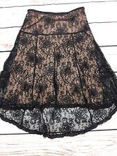 BCBG MAX AZRIA Black Lace Layover Beige Skirt  Sz 4 Side Zip =